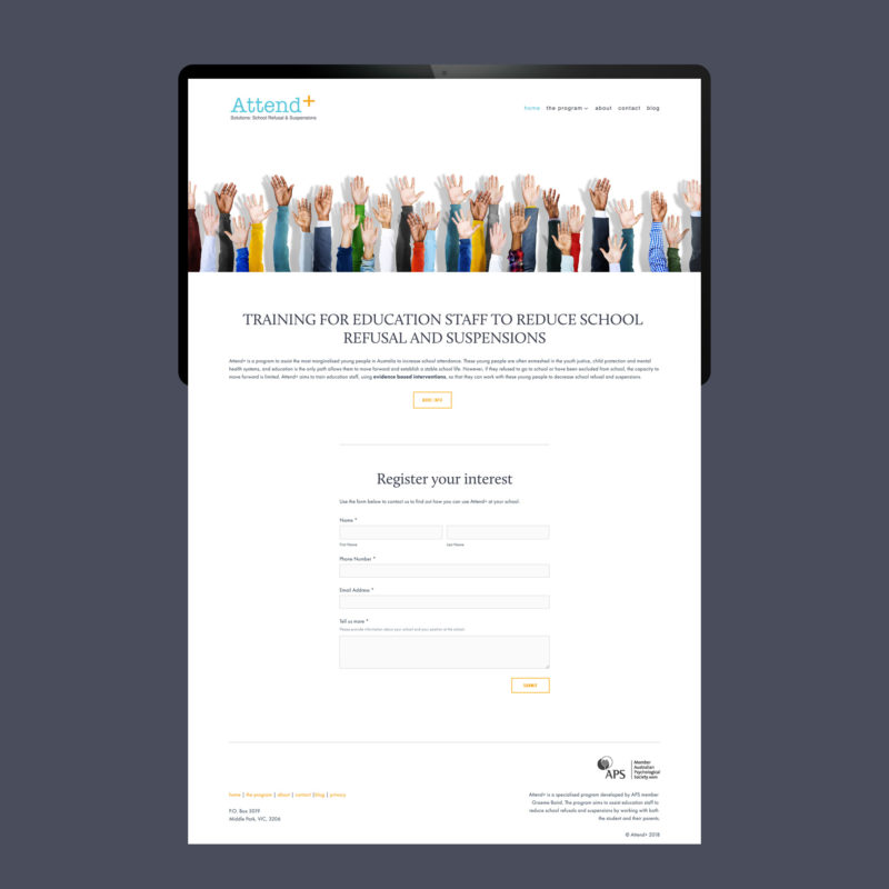Attend+ Website Design