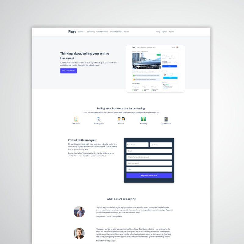 Flippa landing page